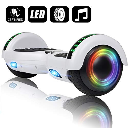 (VEVELINE White Two-Wheel Self Hoverboard Balancing Electric Scooter with Built-in Bluetooth Speaker LED Wheels and LED Side Lights - UL 2272 Certified Hover Board for Adults Kids Free Carrying)