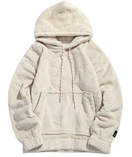 Unisex Teddy Sweater Long Sleeve Fleece Fashion Hooded Front Pocket Fall Winner Outwear Coat White