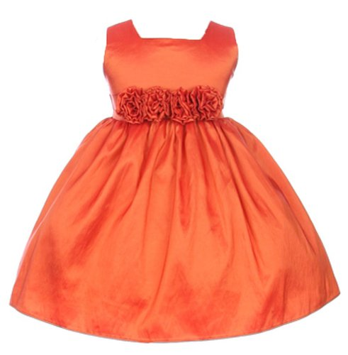 Sweet Kids Baby Girls' Slvless Dress Flw Waistband 18M Lg Orange (SK - Colors Taffeta Sash Light