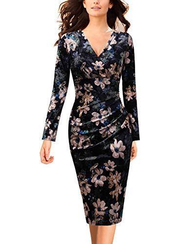 Dress Silk Draped - VFSHOW Womens Velvet Floral Print Ruched Cocktail Faux Wrap Sheath Dress 1767 FLW XS