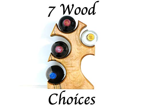 Wood Wine Tree Wine Racks, Beautiful Standing Wine Bottle Display for Counters and Kitchens to hold up to 4 of your favorite bottles