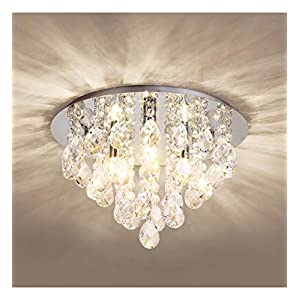 Crystal Ceiling Light,Modern Chandeliers with Crystal Droplets,Chrome Finish,Elegant Flush Mount Ceiling Lighting for…