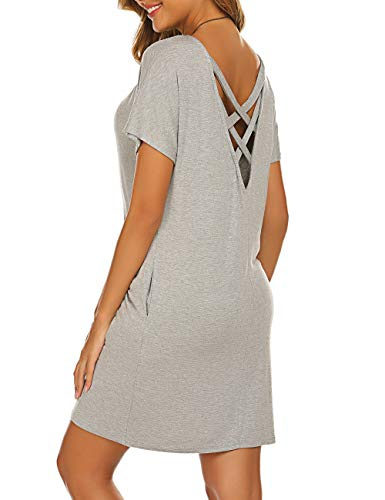 Halife Summer Beach Dresses for Women Short Sleeve Pockets Open Back Slim Fit Grey S