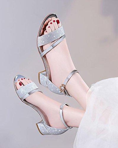 Womens Low Mid Heel Block Peep Toe Ladies Tobillo Correa Fiesta Strappy Sandalias Sandalias planas,Sandalias de moda (Color : A, Tamaño : 37) B