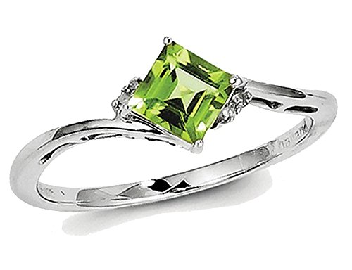 Solitaire Princess Cut Natural Peridot Ring 0.60 Carat (ctw) in Sterling Silver