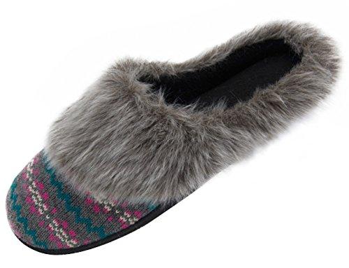 hometop Mujer sintética de punto y forro de pelo de imitación de cachemira Slip-On De Espuma De Memoria Clog Zapatillas de Interior/Al aire libre gris
