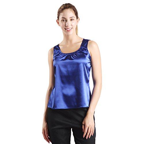 Cami Tank Top, DD DEMOISELLE Women's Casual Sleepwear Soft Satin Tank Top Camisole Blue Size (Blue Satin Camisole)