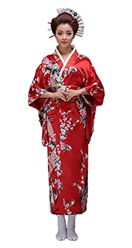 CRB Fashion Kimono Japanese Women's Traditional Style Robe Yukata Costumes (Red)