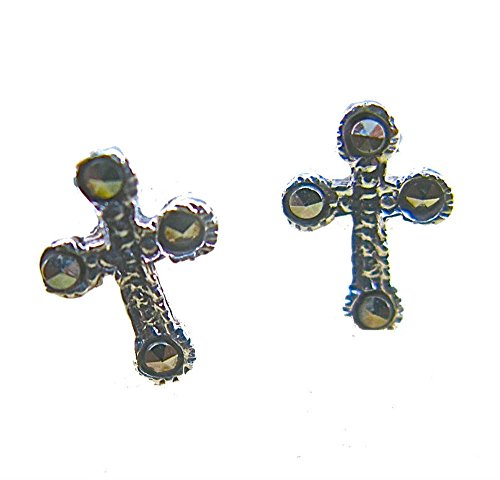 - FaithOwl Cross Religious Marcasite 925 Sterling Silver Stud Earrings
