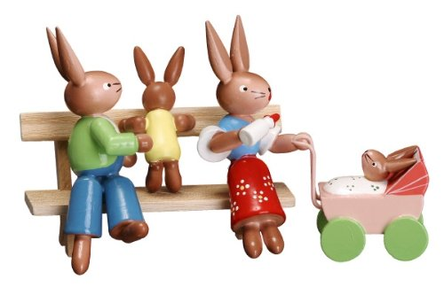 Cute Miniature Bunny Couple with One Baby on Park Bench and Other in Carriage 3 Inch