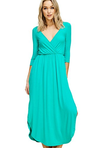 Annabelle Women's Knit Solid Print Quarter Sleeve V-Neck Wrap Maxi Dress with Round Hem and Side Slit Seafoam Small D2541B
