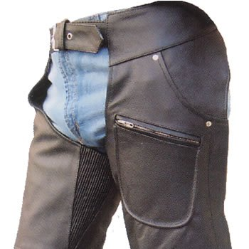 Mens HeavyDuty Lined cowhide leather Motorcycle chaps w silver hardware & 2 front Jean style pockets