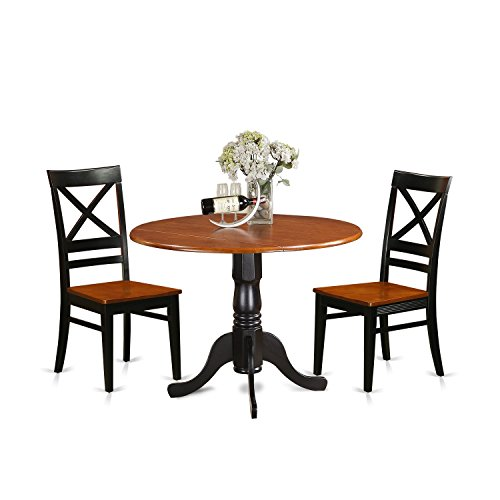 Breakfast Nook Cherry - East West Furniture DLQU3-BCH-W 3 Piece Dining Table and 2 Wooden Kitchen Chairs Set Dublin