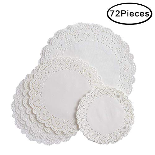 VIPITH 72 Pieces White Round Lace Paper Doilies Cake Packaging Paper Pad for Party or Wedding Tablewear Decoration, 6.5 Inch, 8.5 Inch, 10.5 Inch -