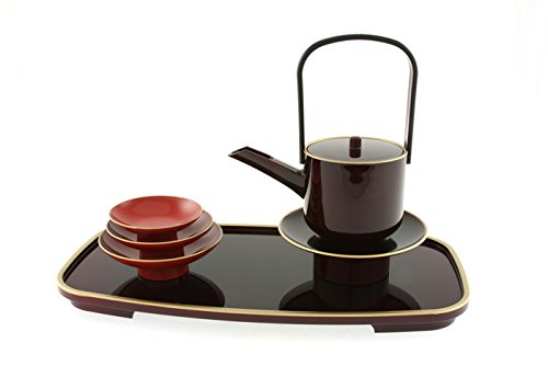Kotobuki Lacquer Japanese Sake Tosoki Set:Tame/Red/Gold Trim #295-026 by 123kotobukijapanstore