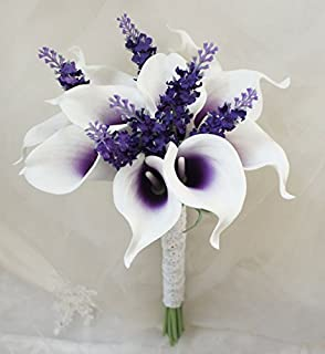 Amazon cascade bouquet purple lavender white artificial lily garden mini 15 artificial calla lily 10 stem flower bouquets purple center with mightylinksfo