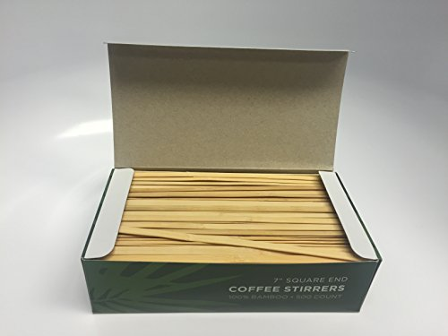 KingSeal Bamboo Wood Coffee Beverage Stirrers, Square End - 7 Inches, 4 boxes of 500 each, 100% Renewable and Biodegradable, Stronger and Thicker Than Standard Wood by KingSeal (Image #1)