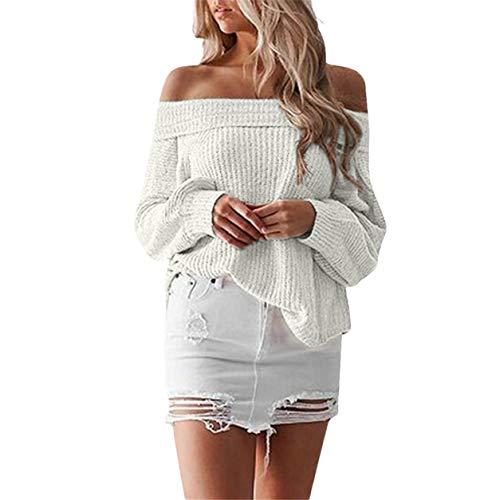 Femme Bellelove Shouder Femme Hiver Pull Pull Tricot Lache Longues Loisirs Chaud en Manches Fit Blanc Off Tops Chandail Dames wwqrS5v