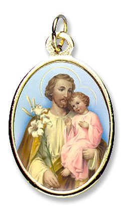 Blessed By Pope Francis St Joseph Father of Jesus Gold Color Medal
