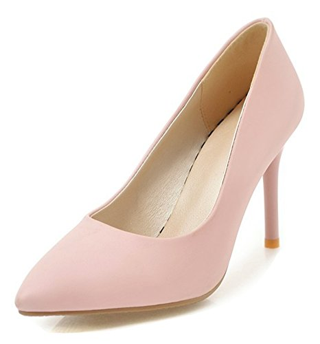 Aisun Womens Slip on Pumps - Low Cut Shoes Stilettos Pointy Toe - Elegant Party Wedding High Heel Pink zytd2DHwX