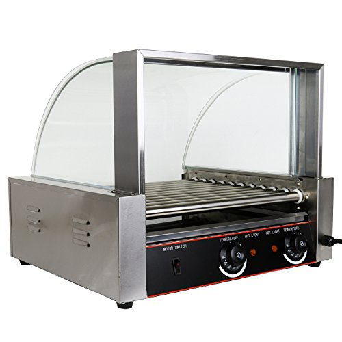 Ridgeyard 2200W Electric Commercial 30 Hotdog Maker 11 Roller Grilling Warmer Cooker Machine with Cover