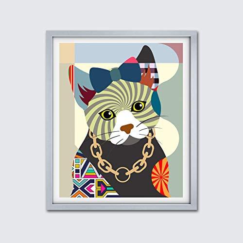 - Cat Portrait Painting Kitty Poster Pet Portrait Pop Art Unframed