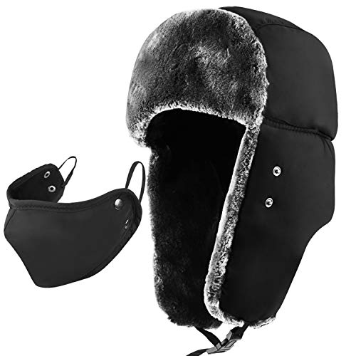 - mysuntown Winter Trapper Warm Hat with Windproof Mask 2 Pieces Ushanka Russian Style Hat for Men and Women