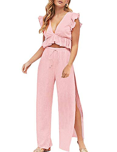 FANCYINN Womens 2 Pieces Outfits Deep V Neck Crop Top Side Slit Drawstring Wide Leg Pants Set Jumpsuits Pink S