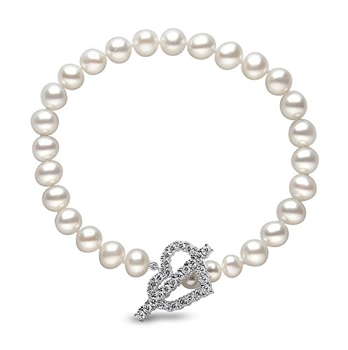 Kimura Pearls Argenté Blanc 6-6,5 mm Semi-ronde-Perle d'eau douce de culture AA Bracelet avec fermoir en forme de coeur 19 cm