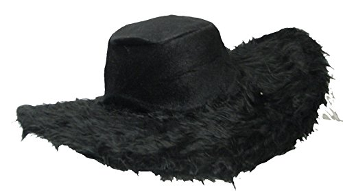 Big Daddy Adult Pimp Hat Black Plush with wired Edge for Shaping