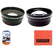 58mm 0.45X Wide Angle Lens + 2X Telephoto Lens For Canon Digital EOS Rebel T1i, T2i, T3, T3i, T4i, T5i, SL1, EOS M, EOS60D, EOS70D, 50D, 40D, 30D, EOS 5D, EOS1D, EOS5D Mark 2, EOS D Digital SLR Cameras Which Has Any Of These (18-55mm, 55-250mm, 100-300mm, 18-250mm, 70-300mm, 75-300mm, 50mm 1.4 , 55-200mm. 24mm) Canon Lenses + More!!