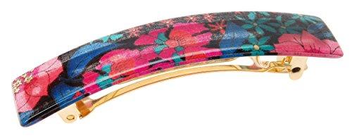 France Luxe Classic Rectangle Barrette - Hayden Floral Indigo