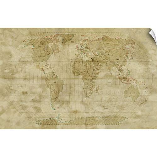 CANVAS ON DEMAND World Map Antique Style Wall Peel Art Print, 18