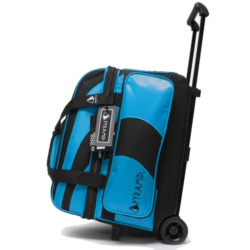 Pyramid Path Deluxe Double Roller Bowling Bag (Black/Asgard Blue)