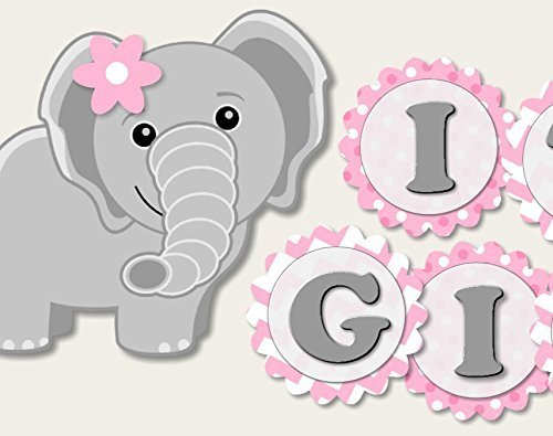 Elephant Baby Shower Banner Party Decoration Supplies for Girl -