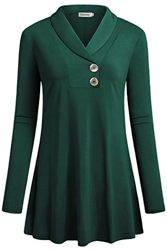 Ouncuty Mothers Day Tunics for Womens, Women Long Sleeve Dressy Tunic Shirts V Neck Tunic Tops for Work XL Green