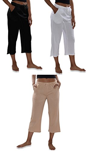 Sexy Basics Women's 3 Pack Casual Active Relaxed Fit Cotton Knit Capri Cropped Bermuda Short Pants (3 Pack- Black/White/Khaki Nude, (Cropped Pants Shorts)