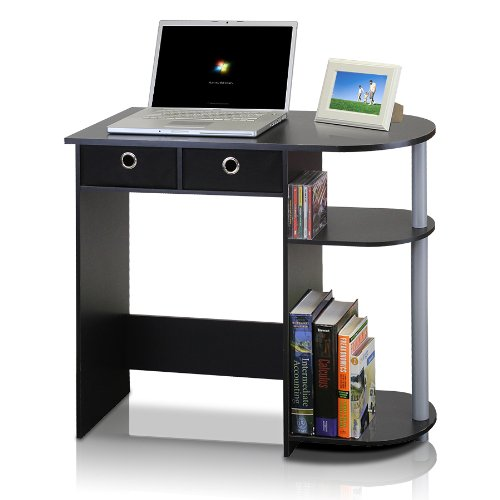 Furinno 11193BK/GY/BK Go Green Home Laptop Notebook Computer Desk/Table, Black/Grey/Black ()