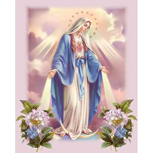 Diamond Painting by Number Kit, LPRTALK 5D DIY Diamond Painting Full Round Drill Virgin Mary Embroidery for Wall Decoration 12X16 inches (Full Drill)