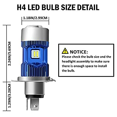 DZG H4 Motorcycle LED Headlight Bulb 9003 HB2 HS1 P43t 6500K CREE Chips High Low Beam Light Conversion Kit 2 Yr Warranty, 1 Pack: Automotive