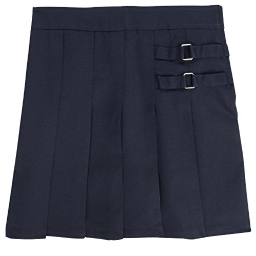 French Toast Little Girls' Pleated Scooter with Side Buckle Accent - navy, 2t