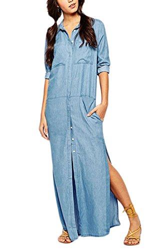 Damen Jeanskleider Blusenkleid Maxikleid Freizeitkleid lange Kleider geöffnete Gabel Loose Normallacks langarm jeans Shirtkleider