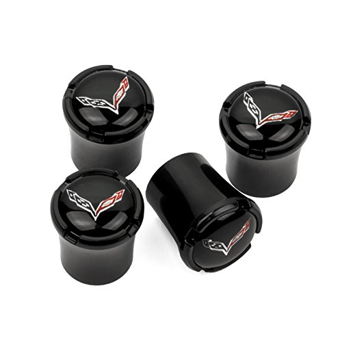 Chevrolet Corvette C7 Valve Stem Black Caps - C7 Flags Logos - (Corvette Valve Stem Caps)