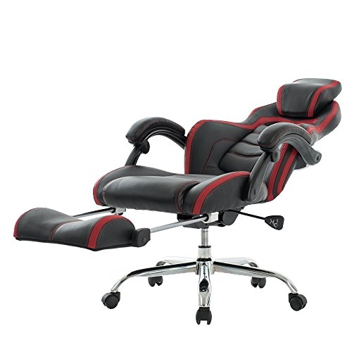 VIVA OFFICE Fashionable High Back Bonded Leather Racing Style Recliner Gaming Chair with Footrest