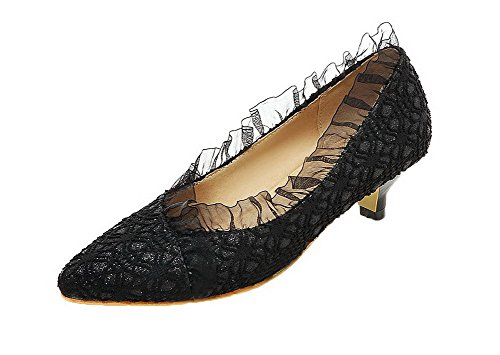 Odomolor Women's Pu Solid Pull-On Closed-Toe Low-Heels Pumps-Shoes Black 7Cdo4O4lM5