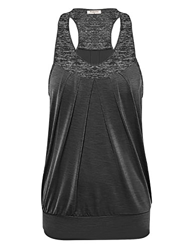 Nomorer Going Out Tops for Women, Girls Pleated Athletic Rackerback Tank Sleeveless Cotton Shirts Summer Sports Outfits (Black, X-Large)