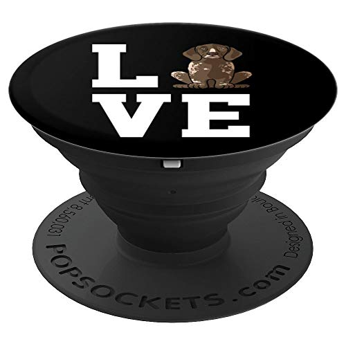 German Shorthaired Pointer Love Dog - Dog Owner Mom Black - PopSockets Grip and Stand for Phones and -