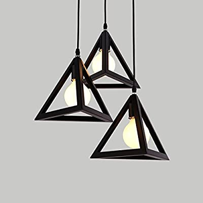 Continental Iron solid triangle lamp shade black and white minimalist three-head pendant , black Pendant Lights
