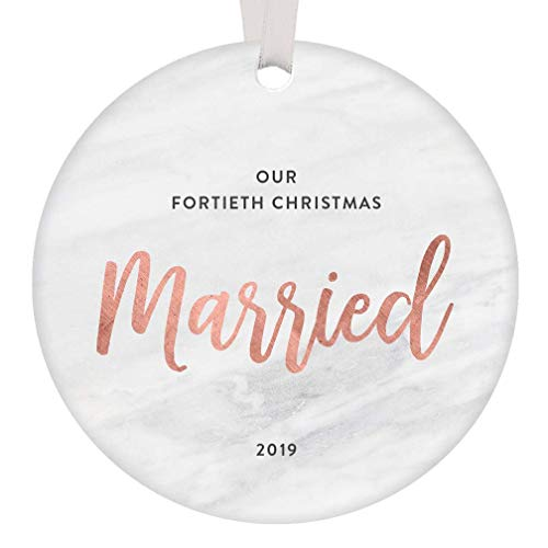40th Christmas Married Ornament 2019 Dated Keepsake Gift Parents Wedding Anniversary Party Present Grandparent Celebrate 40 Years Husband Wife Modern Blush Pink and Marble 3