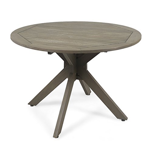 Great Deal Furniture 305060 Stanford Outdoor Round Acacia Wood Dining Table with X Base, Gray, Finish
